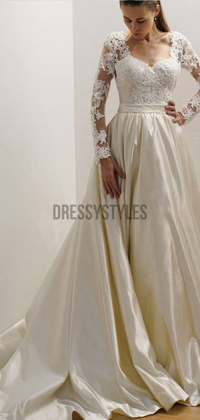 Gorgeous A Line Long Sleeves Lace Top With Train Wedding Dresses ,MD379