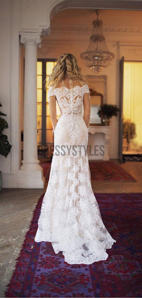 Gorgeous Off the Shoulder Long Sleeves Sweep Trailing Long Wedding Dresses, MD442