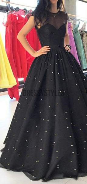 Pretty Black A Line Round Neck Floor Length with Pearls Long Prom Dresses, MD415
