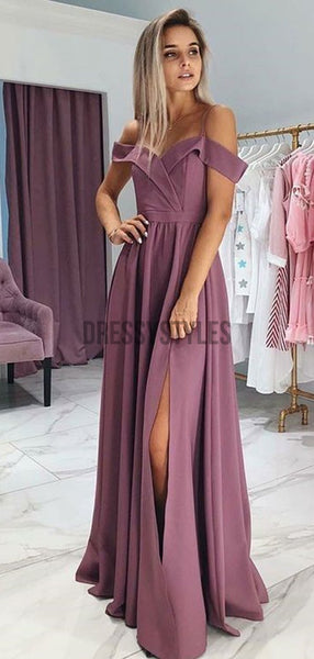 Simple Off The Shoulder A Line Side Slit Floor Length Long Prom Dresses, MD428