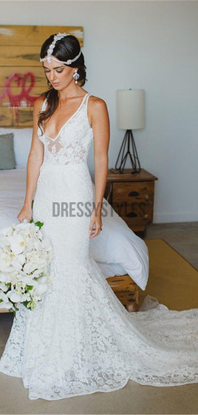 Lace V Neck Mermaid Bridal Long Wedding Dresses RPD2107