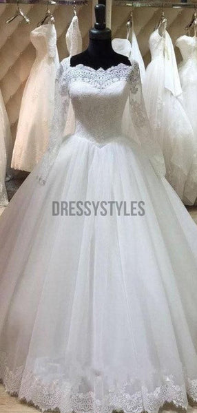 Pretty Long Sleeves Lace Tulle Floor Length A Line Long Wedding Dresses ,MD433