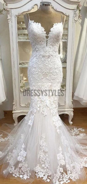 Spaghetti Strap Lace Mermaid Tulle Applique Ivory Wedding Dresses RPD2104