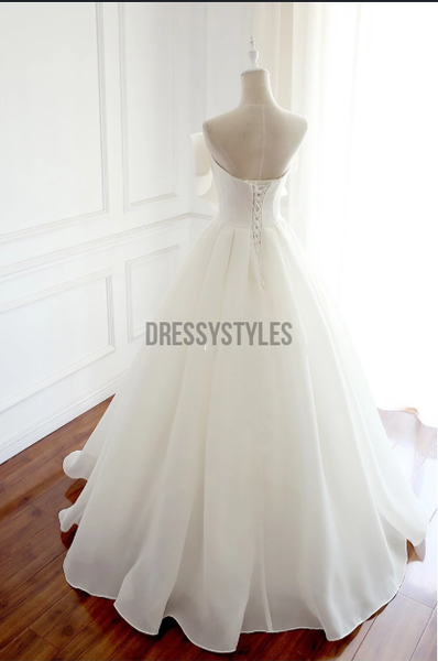 Unique White Bow Strapless A Line Floor Length Lace Up Long Prom Dresses, MD438