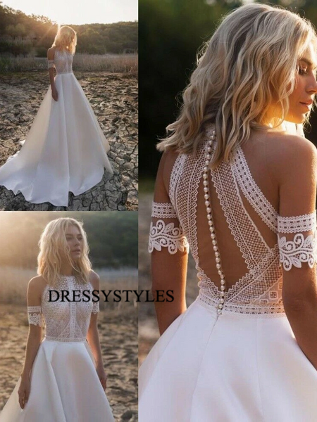 Alluring Halter Lace Top Wedding Dresses, WD1141