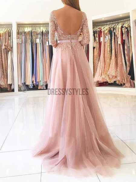 A-line Illusion Neck Lace and Tulle Skirt 3/4 Sleeves Long Prom Dresses DPB130