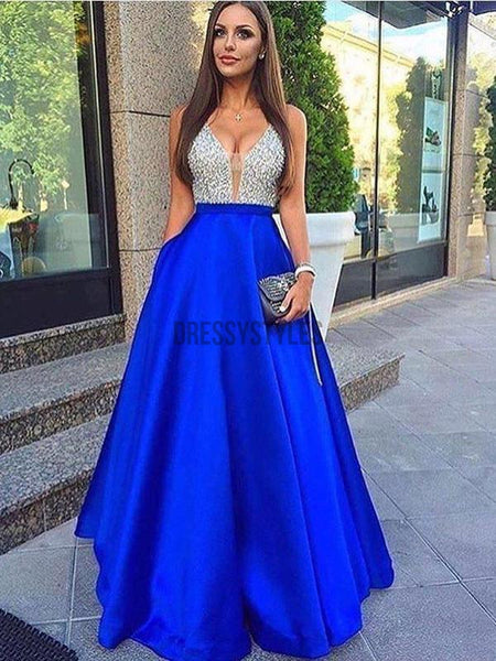 A-line V-neck Beaded Bodice Royal Blue Long Prom Dresses with Pocket,DPB128