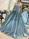 Charming Light Blue Applique Long Evening Prom Dresses, BW0607