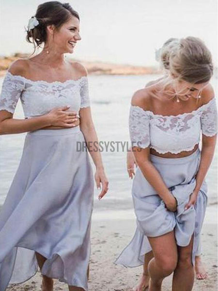 2 Pices Lace Off the Shoulder Short Sleeves Tea Length Wedding Bridesmaid Dresses, MD302