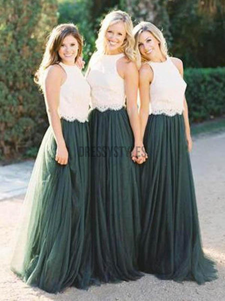 2 Pieces White Lace Teal Green Tulle Long Wedding Bridesmaid Dresses, MD303