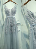 Beautiful A-line Tulle V Neck Lace Long Prom Dress, MD317