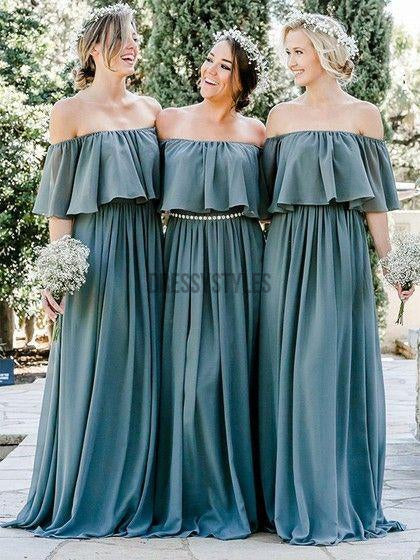 Cheap  A-line Off-the-shoulder Chiffon Floor-length Long Bridesmaid Dresses ,MD331