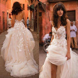 A-line Backless Tulle Long Wedding Dresses,Cheap Wedding Dresses,MD330