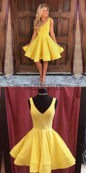 Cheap Yellow V Neck Satin A Line Short Homecoming Dress, BTW182