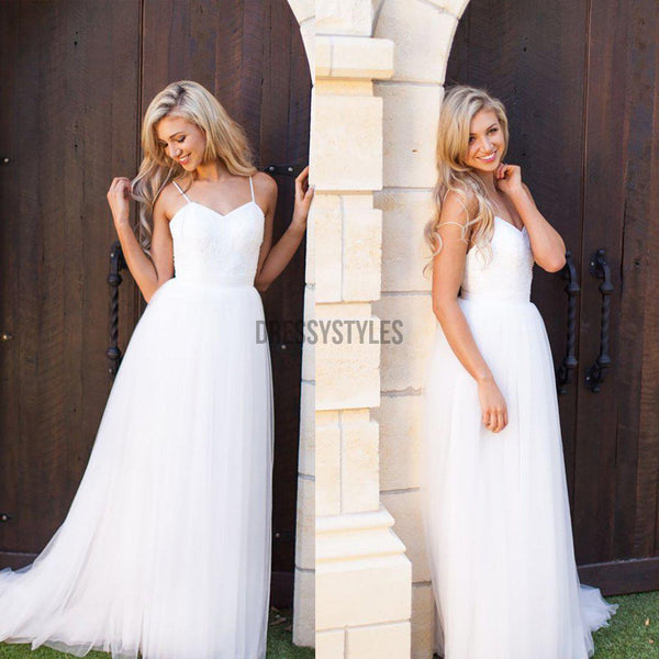 Simple Lace Top Spaghetti Straps A Line Sweep Trailing Long Wedding Dresses ,MD434