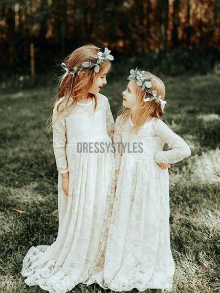 Pretty Long Sleeves Round Neck Full Lace Long Flower Girl Dresses, GTE2132