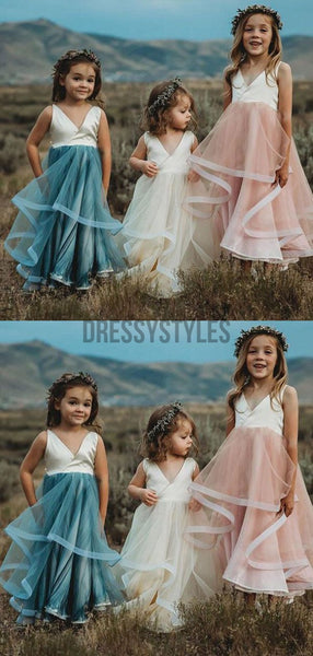 Cute V Neck Sleeveless Tulle A Line Wedding Flower Girl Dress , GTE2133