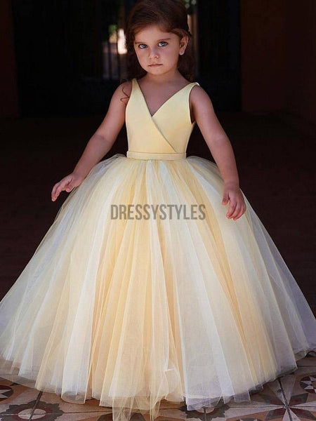 Simple Light Yellow V Neck Satin Tulle A Line Flower Girl Dresses , GTE2134