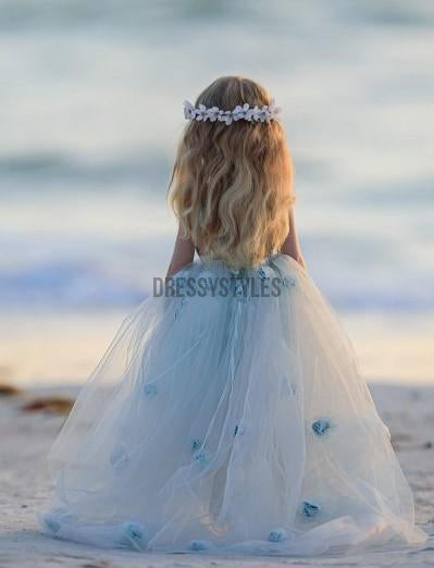 Lovely Pale Blue Handmade Flower Tulle A Line Flower Girl Dress, GTE2135