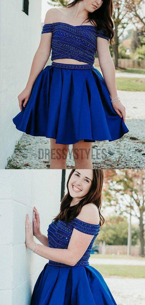 Gorgeous Off The Shoulder With Rhinestone A Line Short Homecoming Dress, BTW168