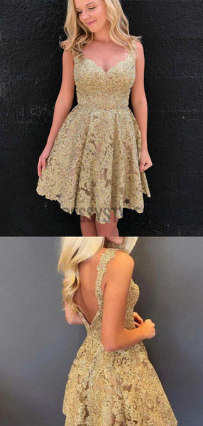 Pretty V Neck Open Back Sleeveless Lace A Line Short Homecoming Dress, BTW169