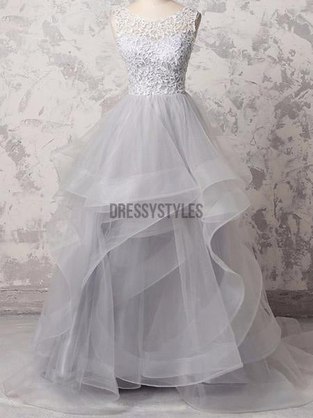 Gorgeous Organza Beaded Waistband Sweep Train Long Evening Prom Dresses, ,MD326