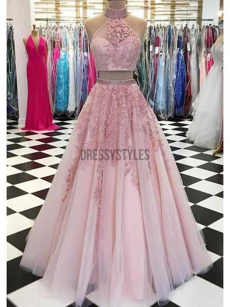 Two Piece High Neck Lace Applique Tulle Long Prom Dress DPB126