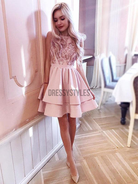 Affordable Sleeveless Satin A Line Embroidery Short Homecoming Dress, BTW240