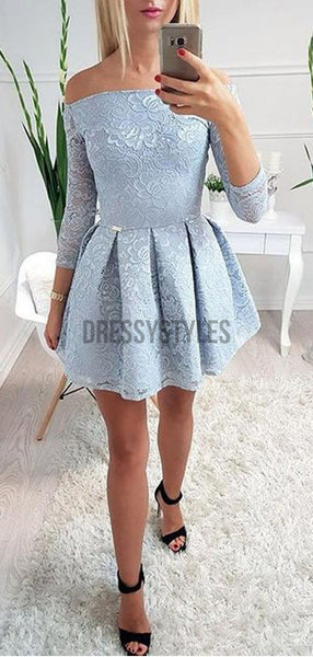 Elegant Off The Shoulder 3/4 Sleeves Lace A Line Short Homecoming Dress, BTW241