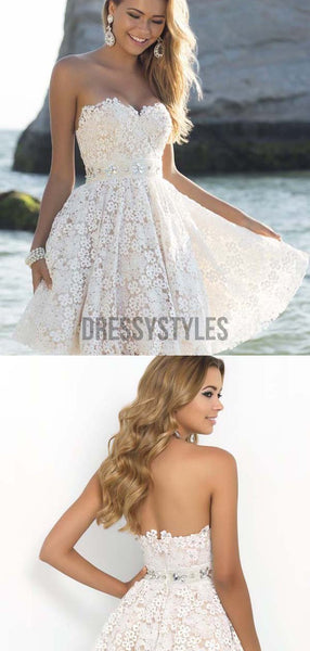 Elegant Strapless Sweetheart Full Lace A Line Short Homecoming Dress, BTW231