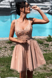 Elegant Dusty Pink Lace Applique Tulle A Line Short Homecoming Dress, BTW277