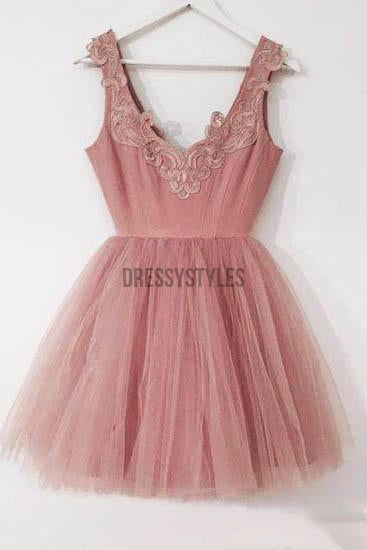Sweet Dusty Rose Lace Applique Tulle A Line Short Homecoming Dress, BTW281