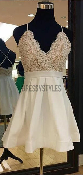 Simple Spaghetti Strap V Neck Lace Top A Line Short Homecoming Dress, BTW285