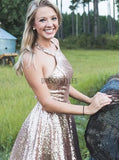 Sparkly Halter Sequin A Line Backless Short Homecoming Dress, BTW287