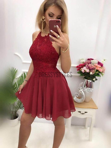 Pretty Halter Backless Lace Top Chiffon A Line Short Homecoming Dresses, BTW291
