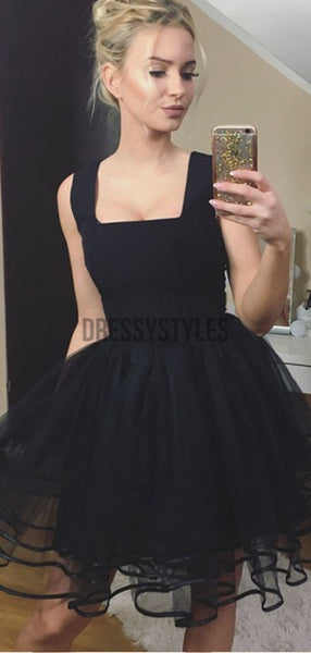 Black Square Neckline Sleeveless Tulle A Line Short Homecoming Dresses, BTW293