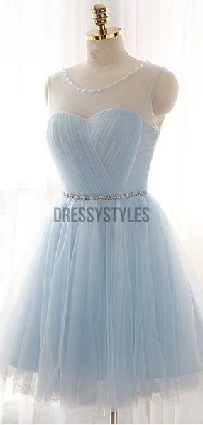 Pretty Light Blue Round Neck Tulle A Line Short Homecoming Dress, BTW259