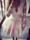 Elagant V Neck Long Sleeves Lace A Line Short Homecoming Dress, BTW166