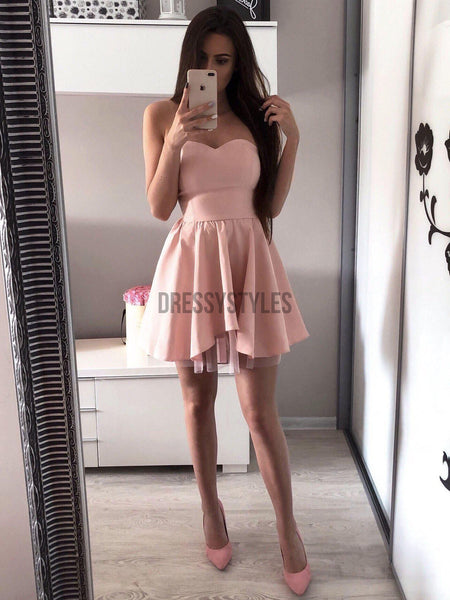 Sexy Sweetheart Simple A Line Pink Mini Short Homecoming Dress, BTW139