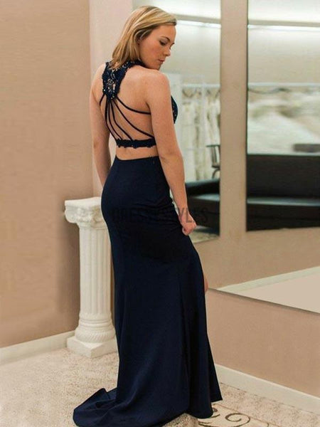 2 Pieces Navy Blue Halter Lace Top Backless Side Slit Long Evening Prom Dresses, BW0605