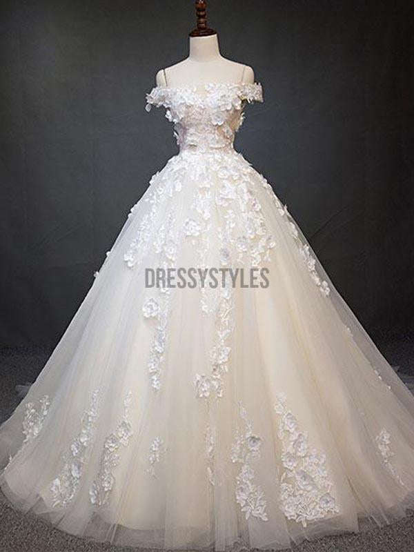 Elegant Off the Shoulder Applique Lace up Back Wedding Dresses, BW0593