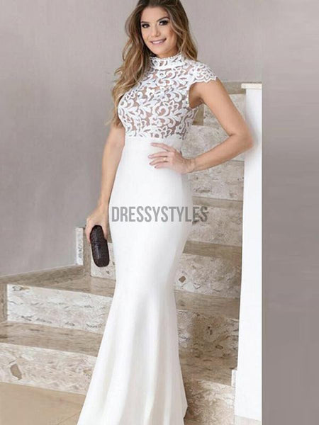 Lace Top High Neck Cap Sleeves Mermaid Long Evening Prom Dresses, PD0065