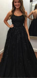 Black Spaghetti Strap Lace Up Back A Line Long Evening Prom Dresses, PD0069