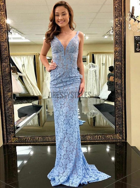 Fashion V Neck Open Back Full Lace Mermaid With Train Long Evening Prom Dresses, PD0001