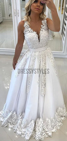 Elegant White Lace Applique V Back A Line Long Evening Prom Dresses, PD0010