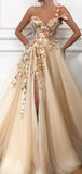 Newest Handmade One Shoulder Tulle A Line Side Slit Long Prom Dresses, PD0073