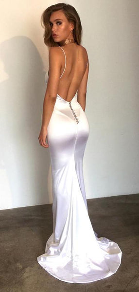 Simple Spaghetti Strap Backless Mermaid Long Prom Dresses, PD0074