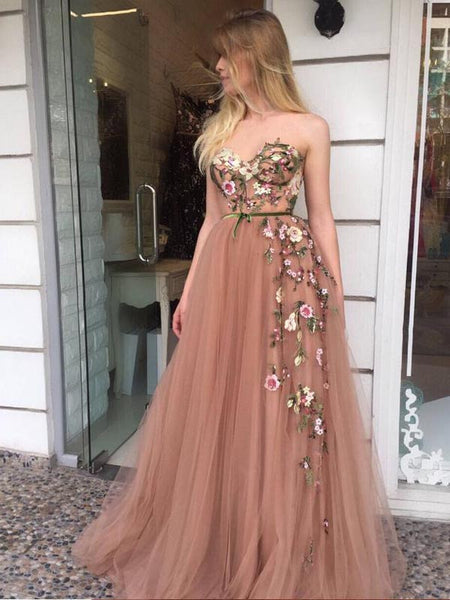 Sweetheart Strapless Applique Tulle A Line Long Prom Dresses, PD0076