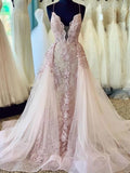 Gorgeous Spaghetti Strap Detachable Lace Long Prom Dresses, PD0078