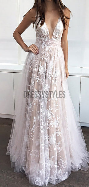 Fashion V Neck Full Lace Backless A Line Long Evening Prom Dresses, PD0012